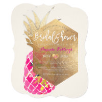 PixDezines Aloha Pineapple Bridal Shower Faux Gold Invitation