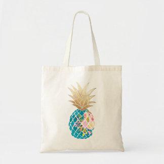 PixDezines Aloha Pineapple Faux Gold Tote Bag
