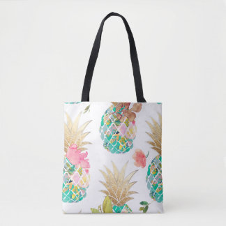 PixDezines Aloha Pineapple+Floral Watercolor Tote Bag