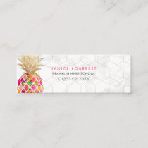 PixDezines ALOHA PINEAPPLE/HOT PINK/FAUX GOLD Calling Card