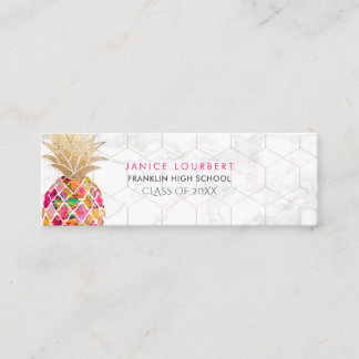 PixDezines ALOHA PINEAPPLE/HOT PINK/FAUX GOLD Calling Card