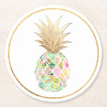 """PixDezines Aloha Pineapples/DIY background Round Paper Coaster<br><div class=""""desc"""">PixDezines hawaiian aloha pineapple with faux gold foil crown for every coasters.   DIY background color  Copyright &#169; 2008-2017,  PixDezines.com™ and PixDezines™ on Zazzle.com. All rights reserved.</div>"""