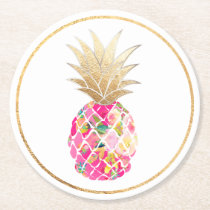 PixDezines Aloha Pineapples/DIY background Round Paper Coaster