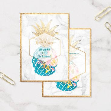 Professional Business PixDezines Aloha Pineapples/Gold/Marble/Enclosure Business Card