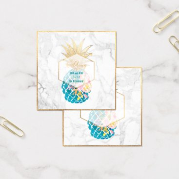 Professional Business PixDezines Aloha Pineapples/Gold/Marble/Enclosure Square Business Card