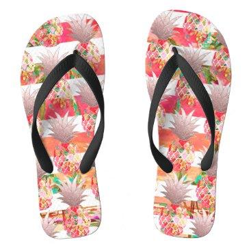 Beach Themed PixDezines Aloha Pineapples Stripes Flip Flops