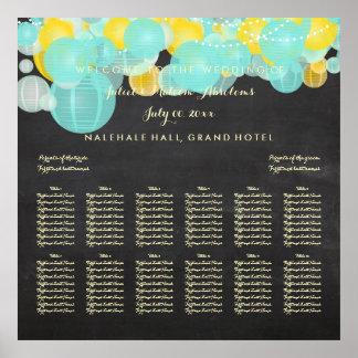 PixDezines Aqua/Yellow/Lanterns/Seating Chart Poster