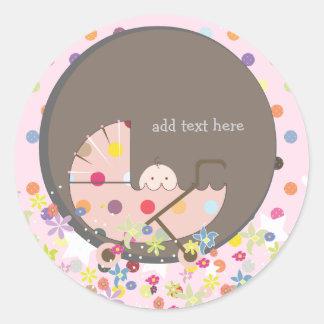 PixDezines Baby in pram. Classic Round Sticker