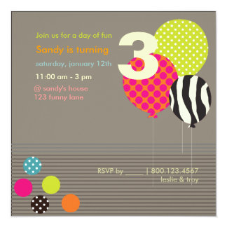PixDezines Baloons Birthday Party Card