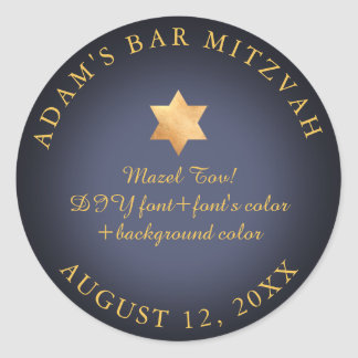 PixDezines Bar Mitzvah/Bat Mitzvah/DIY color Classic Round Sticker