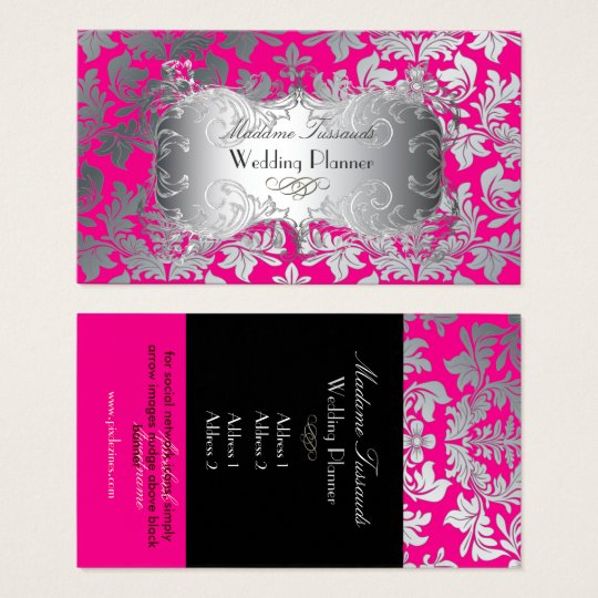 PixDezines baroque damask faux silver/hot pink Business Card