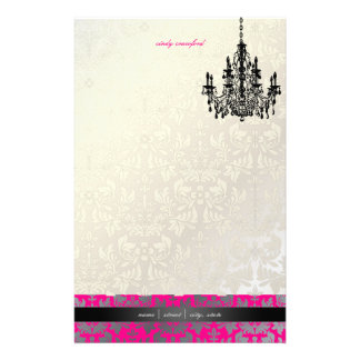 PixDezines Baroque Damask/Faux Silver+Hot Pink Stationery