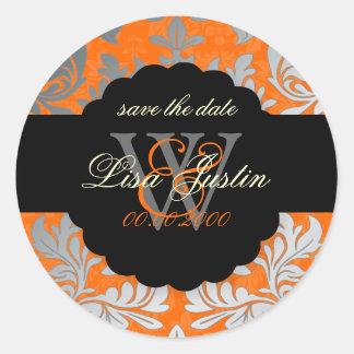 PixDezines Baroque Damask/Faux Silver+Orange Round Stickers