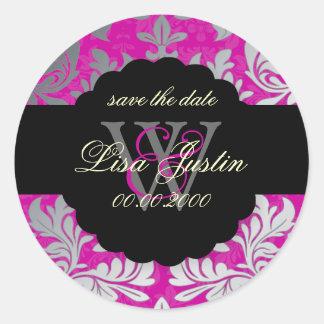 PixDezines Baroque Damask/Faux Silver+Pink/Magenta Round Sticker