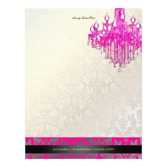 PixDezines Baroque Damask/hot pink chandelier Letterhead