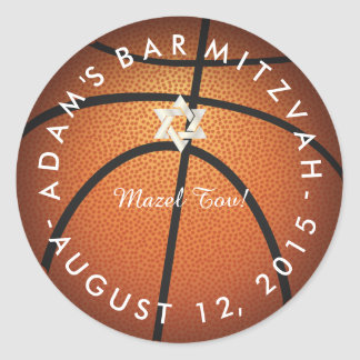 ✡ PixDezines Basketball Mitzvah Classic Round Sticker
