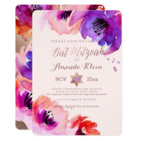 PixDezines ✡ Bat Mitzvah/Floral Watercolor Card