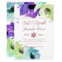 PixDezines ✡ Bat Mitzvah/Floral Watercolor Card