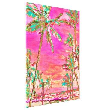 Beach Themed PixDezines Beach/Hawaii/Bay/Pink/Teal Canvas Print