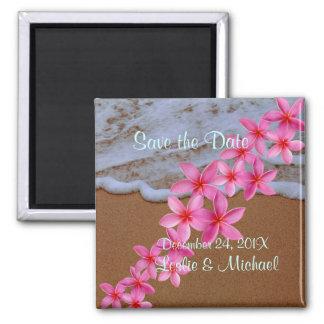 PixDezines beach+pink plumeria Magnet