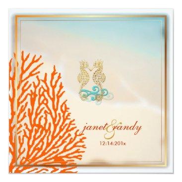 Beach Themed PixDezines beach seahorse coral Card