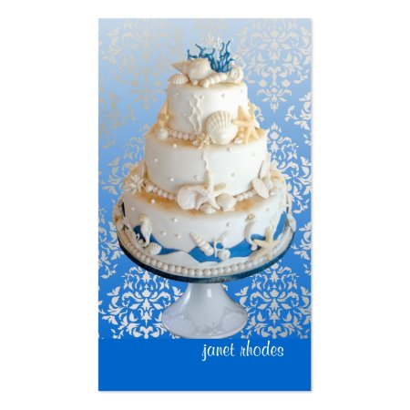 Blue and White Damask Background Gorgeous Beach Wedding Cake with Sea Shells Business Cards