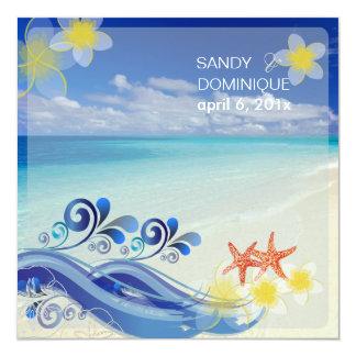 PixDezines beach wedding/dynamic design 5.25x5.25 Square Paper Invitation Card