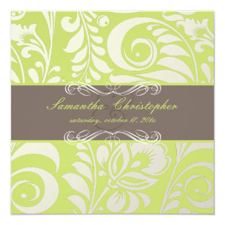 "PixDezines Bellissimo Damask, Cocoa+Lime 5.25"" Square Invitation Card"
