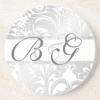 PixDezines Bellissimo Damask, Custom Color!! Beverage Coaster