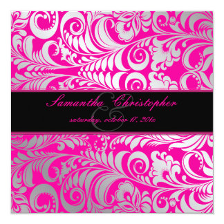 "PixDezines Bellissimo Damask/DIY color/hot pink 5.25"" Square Invitation Card"
