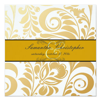 "PixDezines Bellissimo Damask, Faux Gold 5.25"" Square Invitation Card"