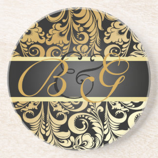PixDezines Bellissimo Damask, Monogram Wedding Beverage Coasters