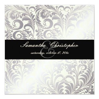 "PixDezines Bellissimo Vintage Damask 5.25"" Square Invitation Card"