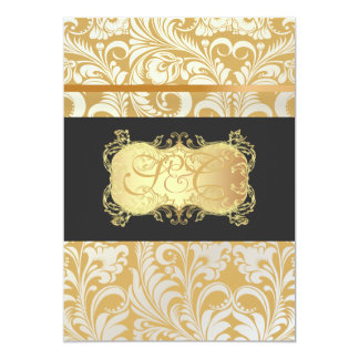 "PixDezines Bellissimo Vintage Damask 5"" X 7"" Invitation Card"