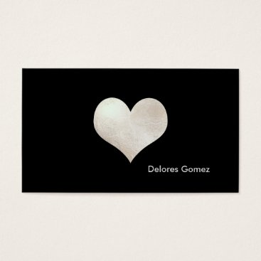 Professional Business PixDezines Big Heart in Faux Silver/DIY background Business Card