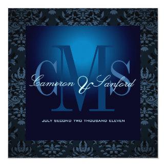 PixDezines bijoux damask /blue sapphire 5.25x5.25 Square Paper Invitation Card