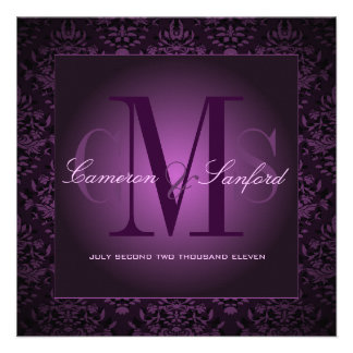 PixDezines bijoux damask /plum Personalized Announcements