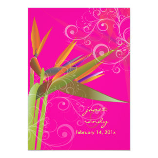 PixDezines Bird of Paradise+swirls/DIY colors 5x7 Paper Invitation Card