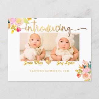 PixDezines Birth Announcement/Floral Watercolor Announcement Postcard