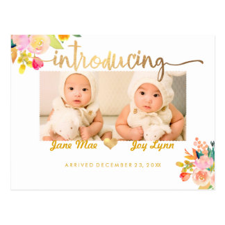 PixDezines Birth Announcement/Floral Watercolor Postcard