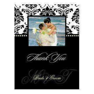PixDezines Black Damask wedding Thank You Photo Post Cards