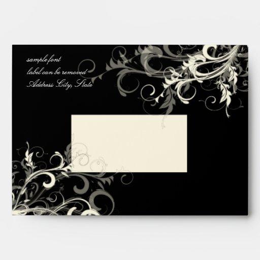 PixDezines Black+Grey Cream Swirls Envelopes