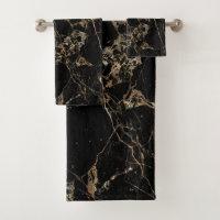 PixDezines BLACK MARBLE FAUX GOLD VEINS Bath Towel Set