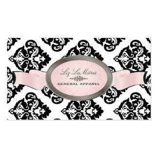 PixDezines Black, Pink, White Oliva Damask Business Card
