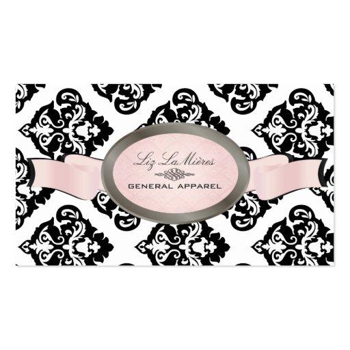 PixDezines Black, Pink, White Oliva Damask Business Cards