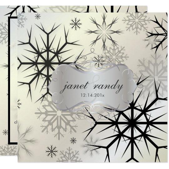 PixDezines BLACK SNOWFLAKES/WINTER WEDDING Card