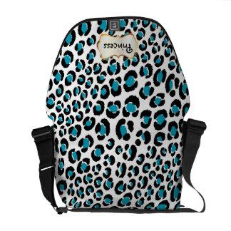 PixDezines Black+Teal Leopard/DIY background color Messenger Bag