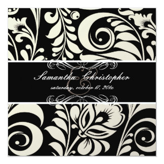 "PixDezines Black+White Bellissimo Damask 5.25"" Square Invitation Card"