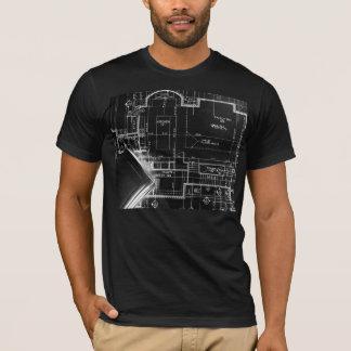 PixDezines black+white blueprint T-Shirt