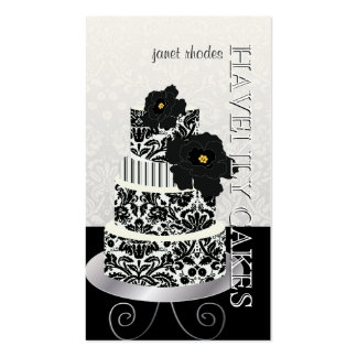 PixDezines Black+White damask cake pâtisserie Business Cards